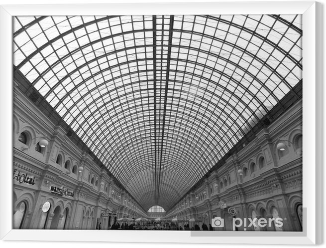 Obraz na płótnie w ramie Czarno-białe zdjęcie z dachu centrum handlowego - Budynki i architektura