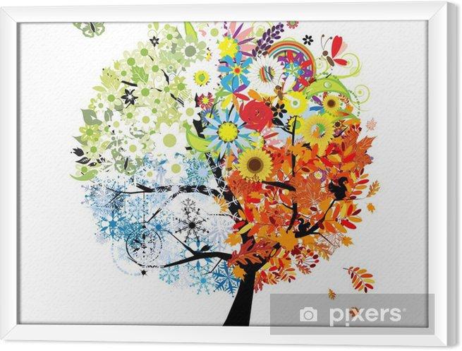 Obraz na płótnie w ramie Cztery pory roku - wiosna, lato, jesień, zima. Drzewo sztuki - Tematy
