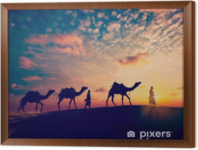 Obraz na płótnie w ramie Dwa cameleers (sterowniki camel) z wielbłądów w wydmy pustyni - Sport