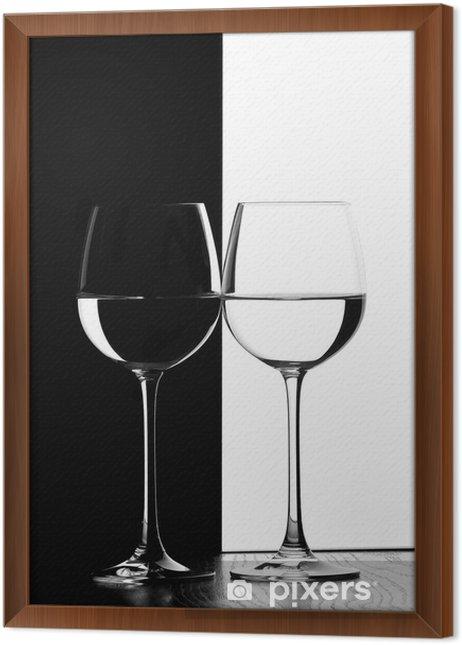 Obraz na płótnie w ramie Dwa kieliszki do wina. - Wino