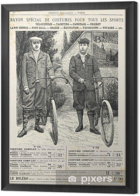 Obraz na płótnie w ramie Dwóch mężczyzn z garniturze na rowerze - Transport drogowy