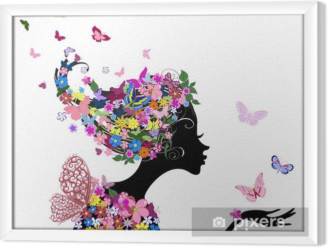 Obraz na płótnie w ramie Dziewczyna z kwiatów i motyli - Moda