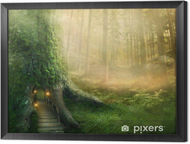 Obraz na płótnie w ramie Fantazja domek na drzewie - Tematy