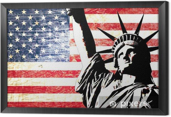 Obraz na płótnie w ramie Flaga USA Statua Wolności -