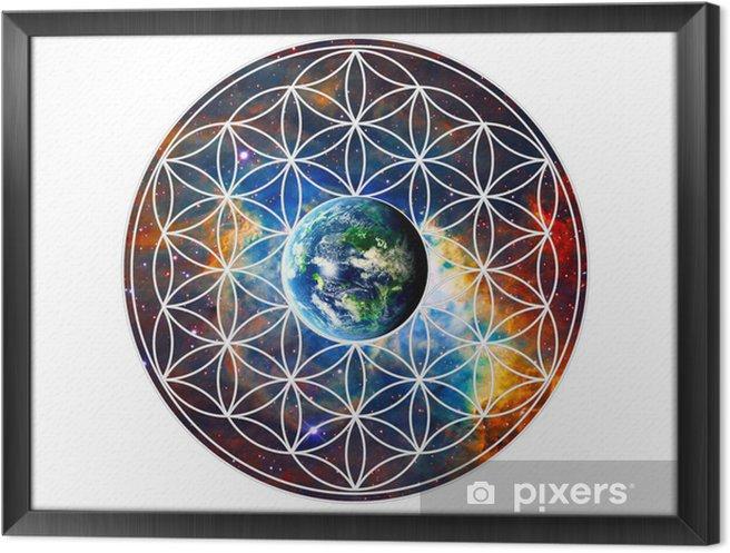 Obraz na płótnie w ramie Flower of Life - Ziemia - Sacred Geometry - Naklejki na ścianę
