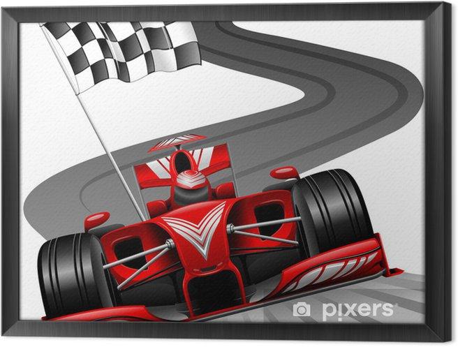 Obraz na płótnie w ramie Formuła 1 czerwony samochód na tor wyścigowy - Naklejki na ścianę