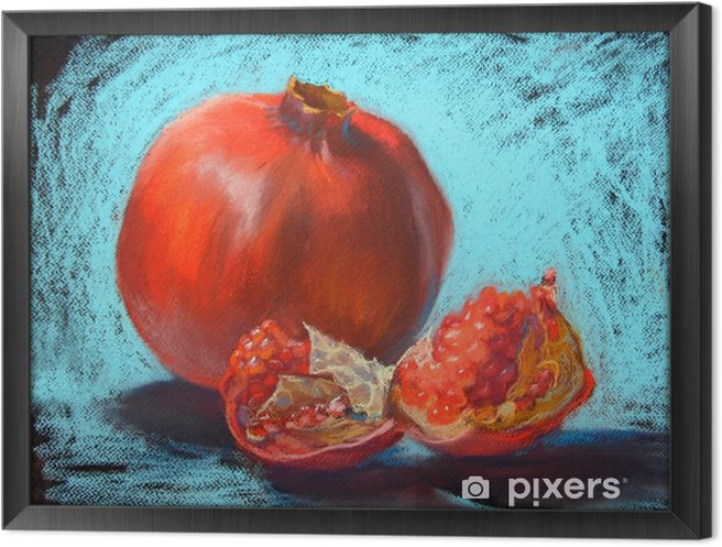 Obraz na płótnie w ramie Granat pastele malowanie ilustracji, bight turkusowy niebieskim tle - Jedzenie