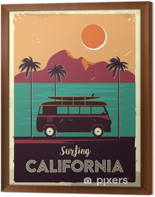 Obraz na płótnie w ramie Grunge retro metalowy znak z palmami i van. surfować w Kalifornii. starodawny plakat reklamowy. staroświecki design - Krajobrazy