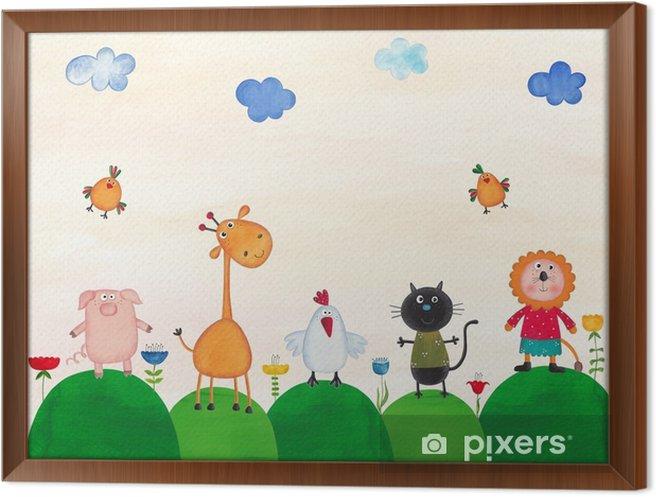 Obraz na płótnie w ramie Ilustracja dla dzieci - Zwierzęta