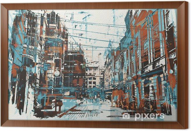 Obraz na płótnie w ramie Ilustracja malowanie ulicy miejskiego z grunge tekstury - Hobby i rozrywka