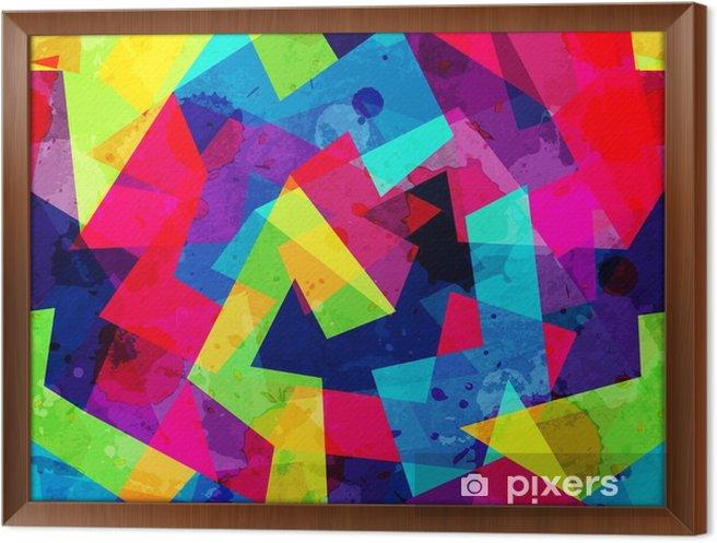 Obraz na płótnie w ramie Jasny geometryczny szwu z mocą grunge - Zasoby graficzne