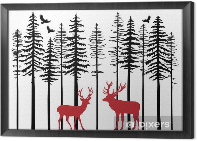 Obraz na płótnie w ramie Jodła drzewa z lasu renifery, wektor - Las