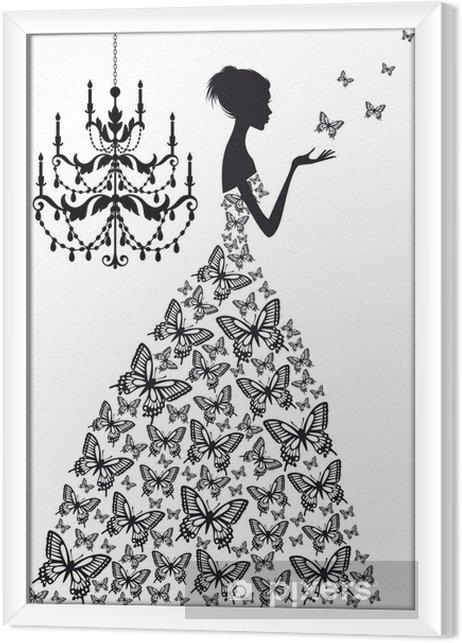 Obraz na płótnie w ramie Kobieta z motylami, wektor - Moda