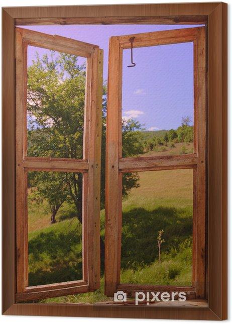 Obraz na płótnie w ramie Krajobraz, widok przez okno - Tematy