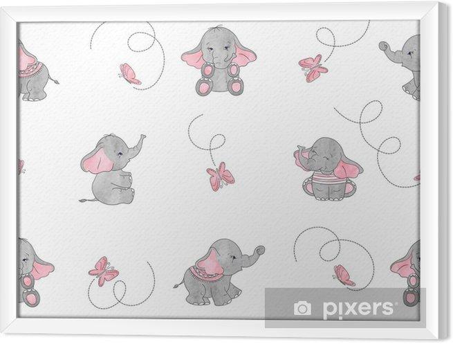 Obraz na płótnie w ramie Kreskówka słonie i motyle bezszwowe wektor wzór. nadruk dla dziecka. - Zwierzęta