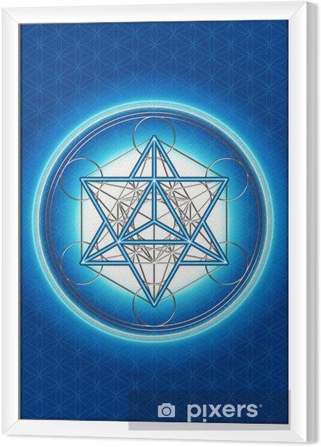 Obraz na płótnie w ramie Kwiat życia, Cube Merkaby Metatrona, - Ezoteryka