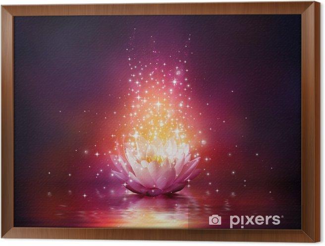 Obraz na płótnie w ramie Magiczny kwiat na wodzie - Do salonu SPA & Wellness