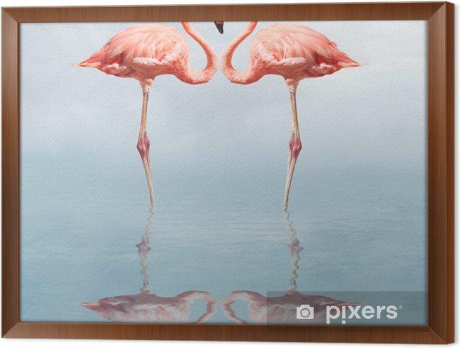 Obraz na płótnie w ramie Making love - Flamingi