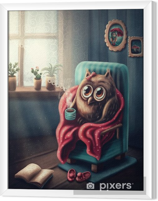 Obraz na płótnie w ramie Mała sowa picia kawy - Zwierzęta