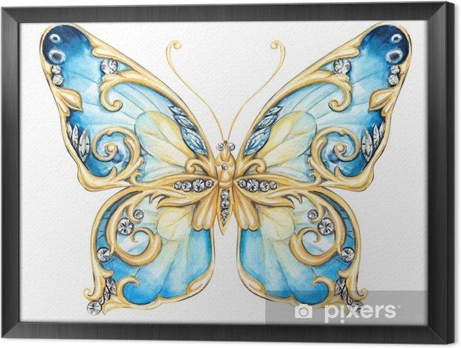 Obraz na płótnie w ramie Mały niebieski motyl - Zwierzęta