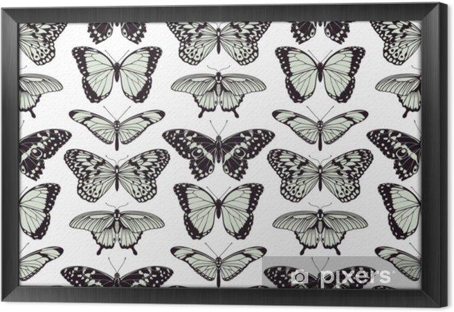 Obraz na płótnie w ramie Motyl bezszwowe tło - Zasoby graficzne