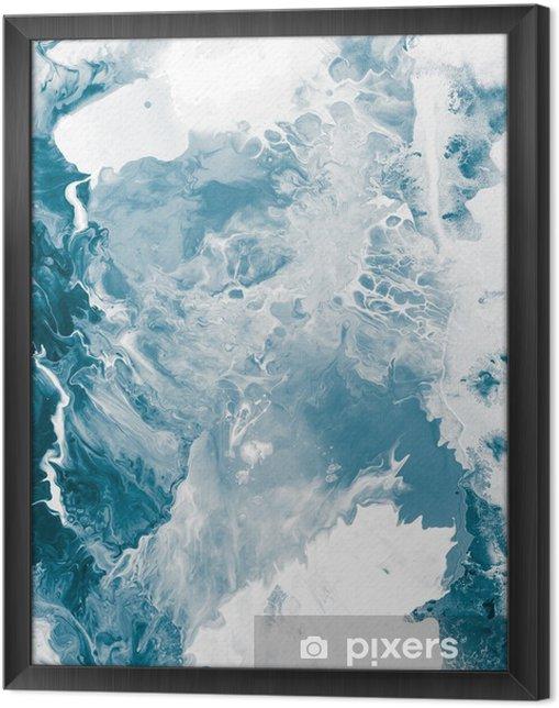 Obraz na płótnie w ramie Niebieski tekstury marmuru -
