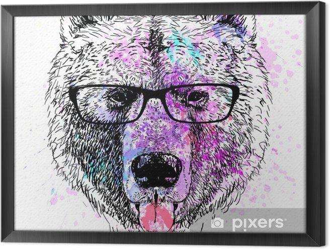 Obraz na płótnie w ramie Niedźwiedź charakter kolorowy portret - Styl życia