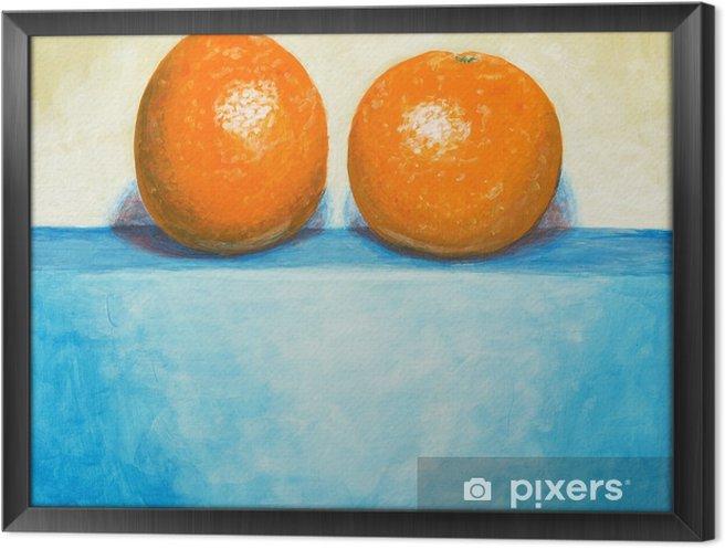 Obraz na płótnie w ramie Obraz z dwóch pomarańczy - Uczucia i emocje