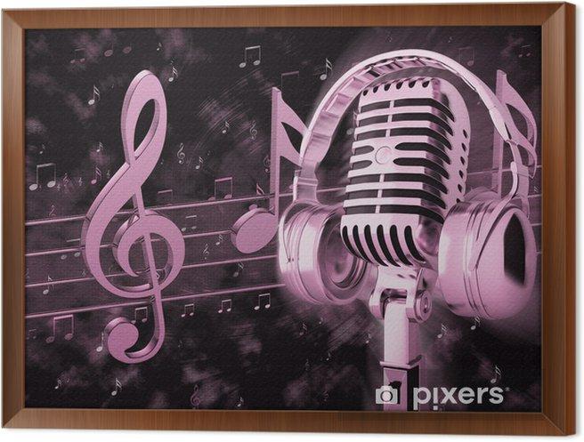 Obraz na płótnie w ramie Obraz z retro mikrofon z nut - Hip Hop