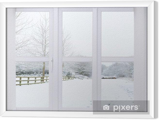 Obraz na płótnie w ramie Okno śnieg sceny - Tematy