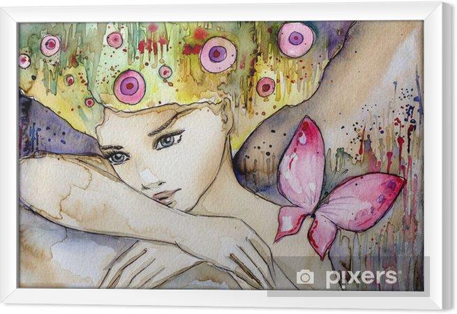 Obraz na płótnie w ramie Piękna dziewczyna z motylem -