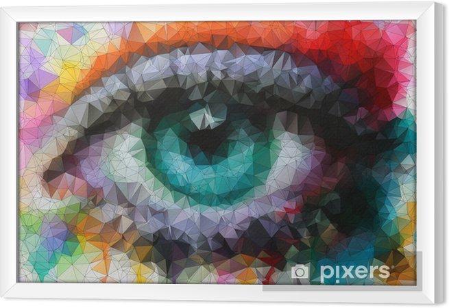 Obraz na płótnie w ramie Piękne oczy w geometryczne stylizacji abstrakcyjne geometryczne tle -