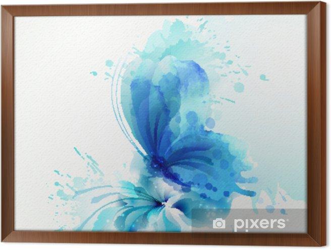 Obraz na płótnie w ramie Piękny akwarela streszczenie niebieski motyl na kwiat na białym tle. - Zwierzęta