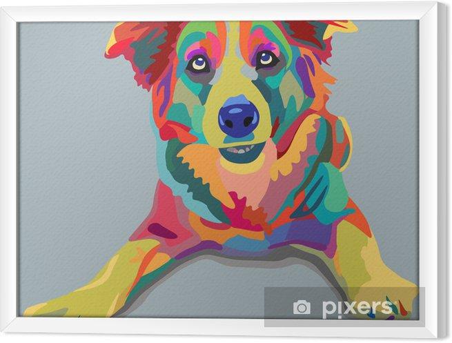 Obraz na płótnie w ramie Pies pop-art - Style