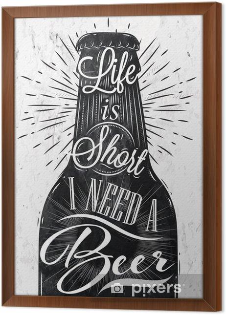 Obraz na płótnie w ramie Plakat rocznika piwo - Gorące napoje