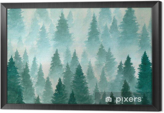 Obraz na płótnie w ramie Ręcznie rysowane akwarela ilustracja. krajobraz mętny, mistyczny, iglasty las na ye halny. chmura, mgła, drzewa, zimno, zima - Krajobrazy