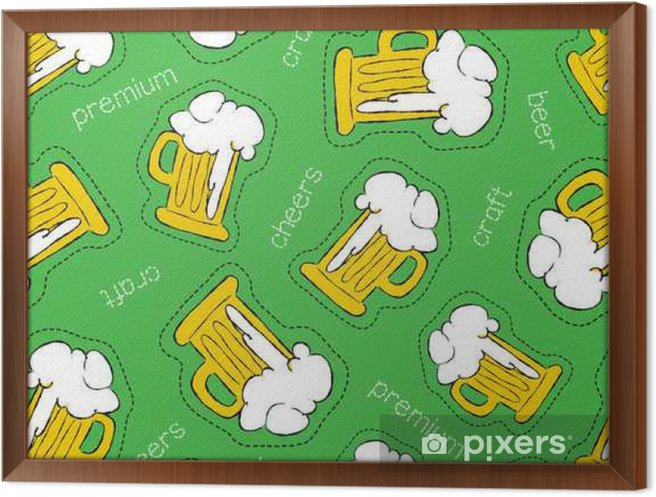Obraz na płótnie w ramie Ręcznie rysowane ikony piwo plaster bez szwu wzór - Zasoby graficzne