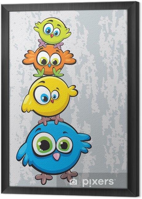 Obraz na płótnie w ramie Rodzina ptaków - Dla przedszkolaka