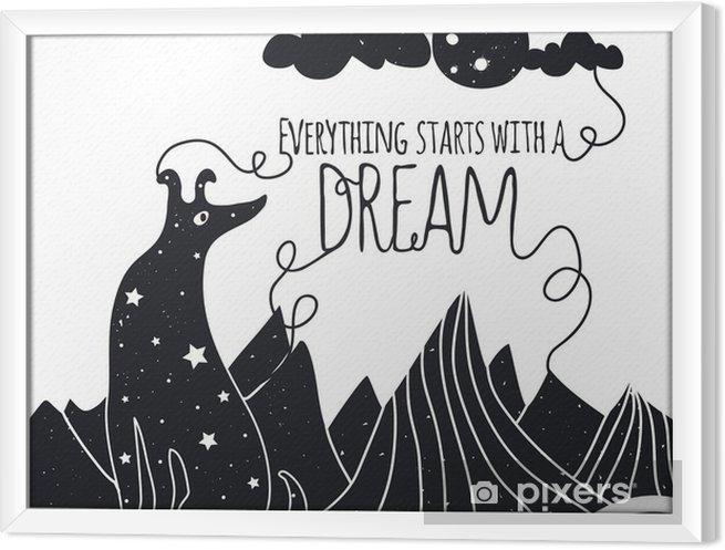 Obraz na płótnie w ramie Śliczne romantyczna ilustracji wektorowych z psem patrząc na Księżyc. Wszystko zaczyna się od marzeń. Gwiazdy, góry i chmury. - Zwierzęta