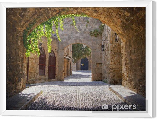 Obraz na płótnie w ramie Średniowieczne łukowe ulica na starym mieście w Rodos, Grecja - Style