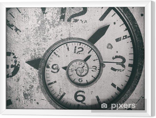 Obraz na płótnie w ramie Streszczenie spirala zegar tło. skręcony czas. - Zasoby graficzne