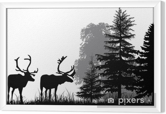 Obraz na płótnie w ramie Sylwetki jelenie w lesie na białym tle - Style