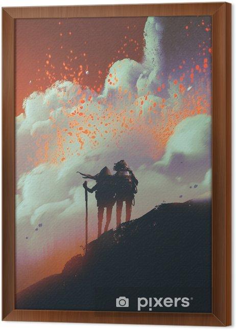 Obraz na płótnie w ramie Sylwetki turystów stojących na górze oglądania dymu z lawy wybuchu wulkanu, cyfrowy styl, malarstwo ilustracja - Hobby i rozrywka