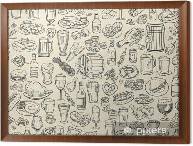 Obraz na płótnie w ramie Szkicowy piwo i przekąski - Napoje