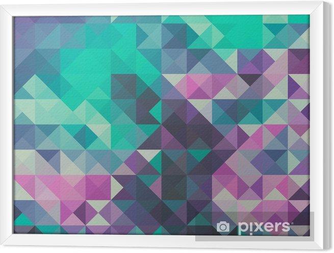 Obraz na płótnie w ramie Trójkąt tło, zielony i fioletowy - Zasoby graficzne