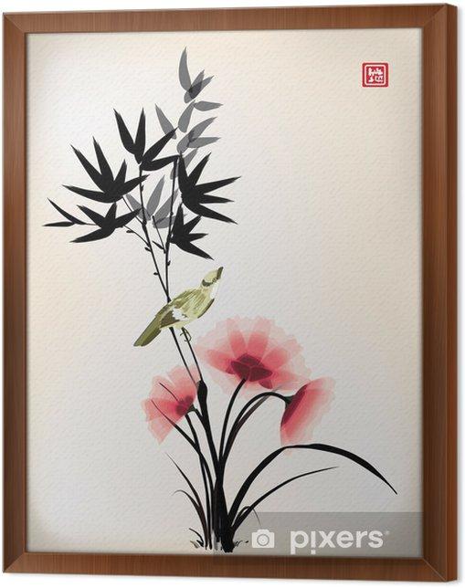 Obraz na płótnie w ramie Tusz chiński styl kwiat ptak rysunek - Criteo