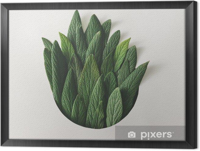 Obraz na płótnie w ramie Twórczy minimalny układ zielonych liści. koncepcja przyrody. płaskie lay. - Rośliny i kwiaty