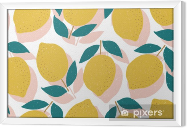 Obraz na płótnie w ramie Wektor bez szwu wzór cytryny, letnie owoce - Zasoby graficzne
