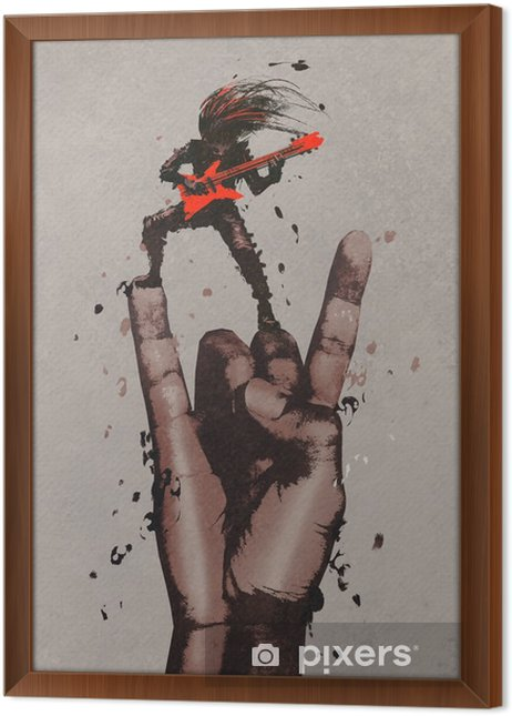Obraz na płótnie w ramie Wielka ręka w rock n roll podpisać z gitarzystą, ilustracja malarstwo - Hobby i rozrywka