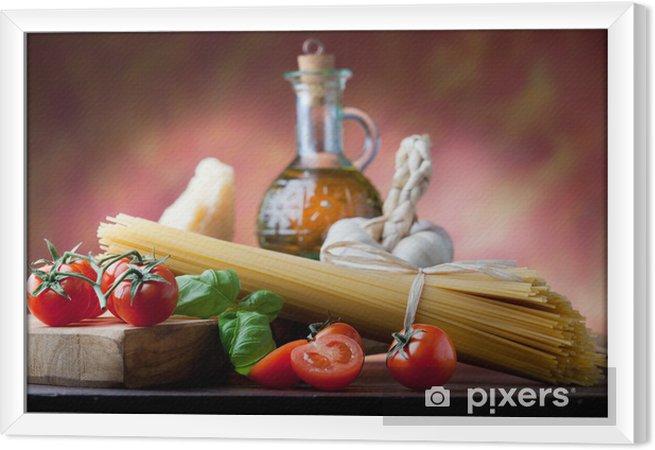 Obraz na płótnie w ramie Włoski makaron z podstawowych składników - Tematy